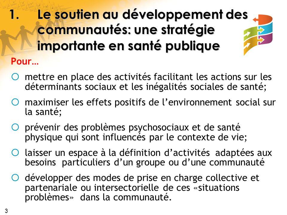 3 1.Le soutien au développement des communautés: une stratégie importante en santé publique Pour… mettre en place des activités facilitant les actions