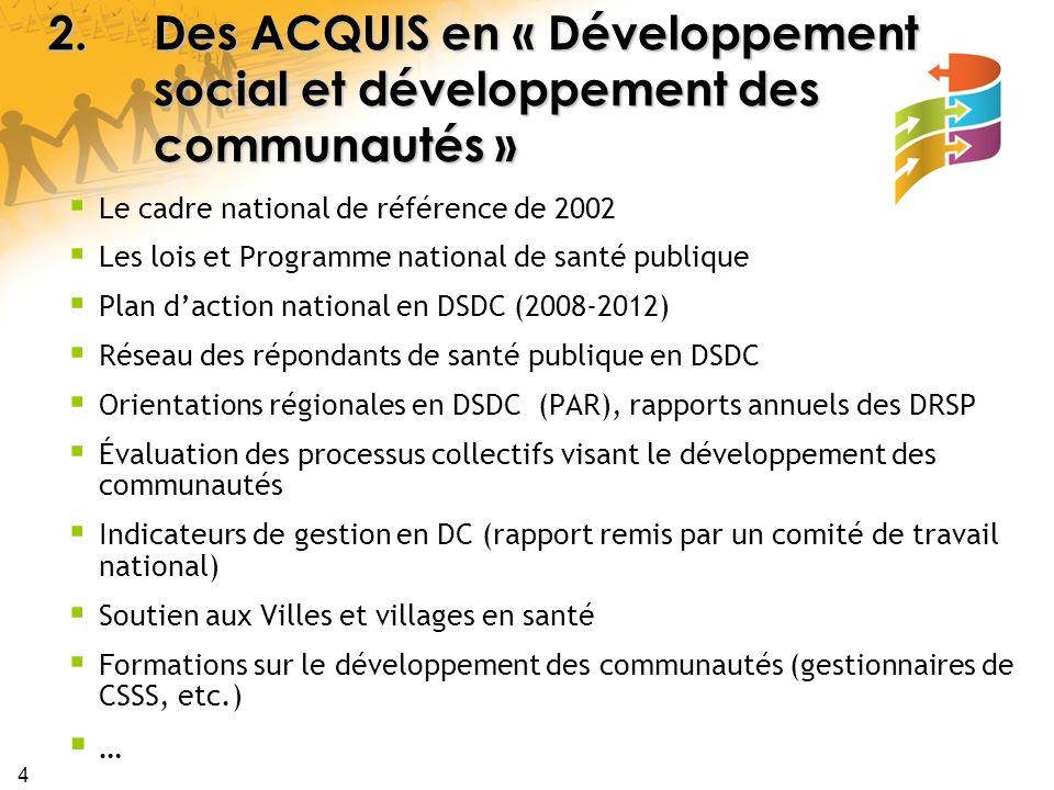 4 2.Des ACQUIS en « Développement social et développement des communautés » Le cadre national de référence de 2002 Les lois et Programme national de s