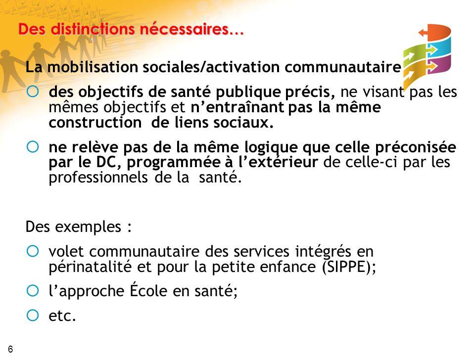 6 Des distinctions nécessaires… La mobilisation sociales/activation communautaire des objectifs de santé publique précis, ne visant pas les mêmes objectifs et nentraînant pas la même construction de liens sociaux.