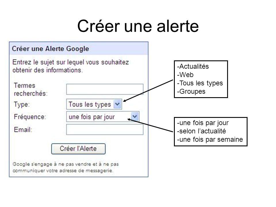 Créer une alerte -Actualités -Web -Tous les types -Groupes -une fois par jour -selon lactualité -une fois par semaine