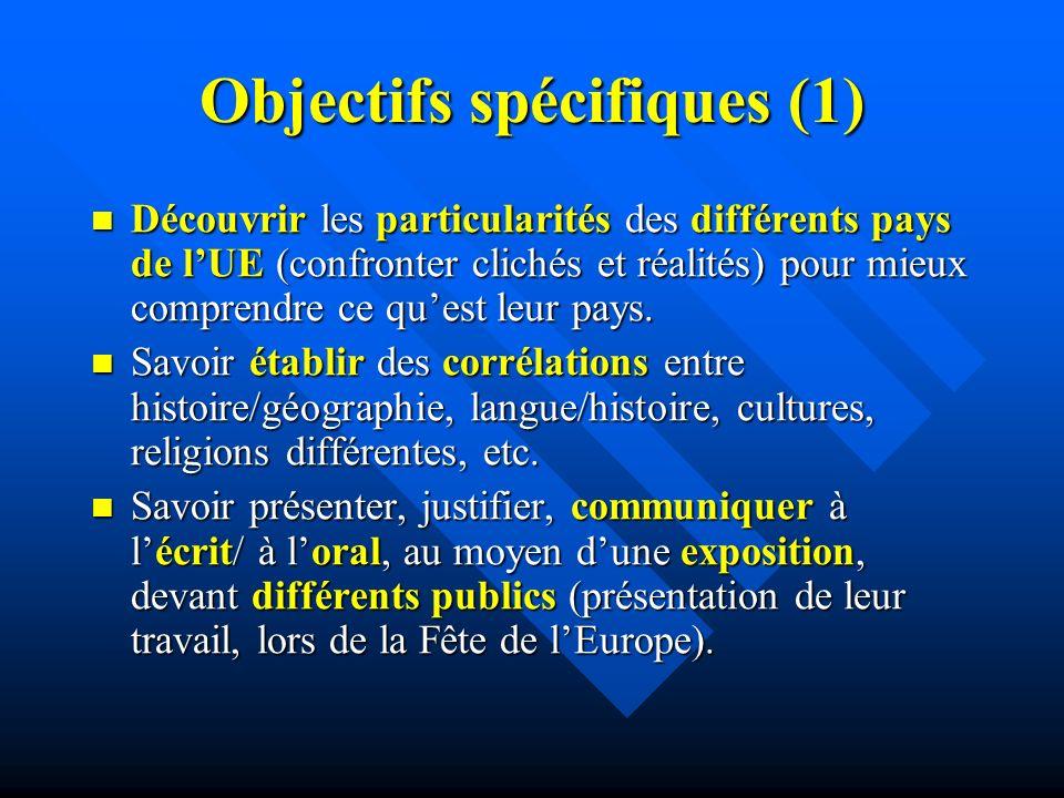 Objectifs spécifiques (1) Découvrir les particularités des différents pays de lUE (confronter clichés et réalités) pour mieux comprendre ce quest leur pays.