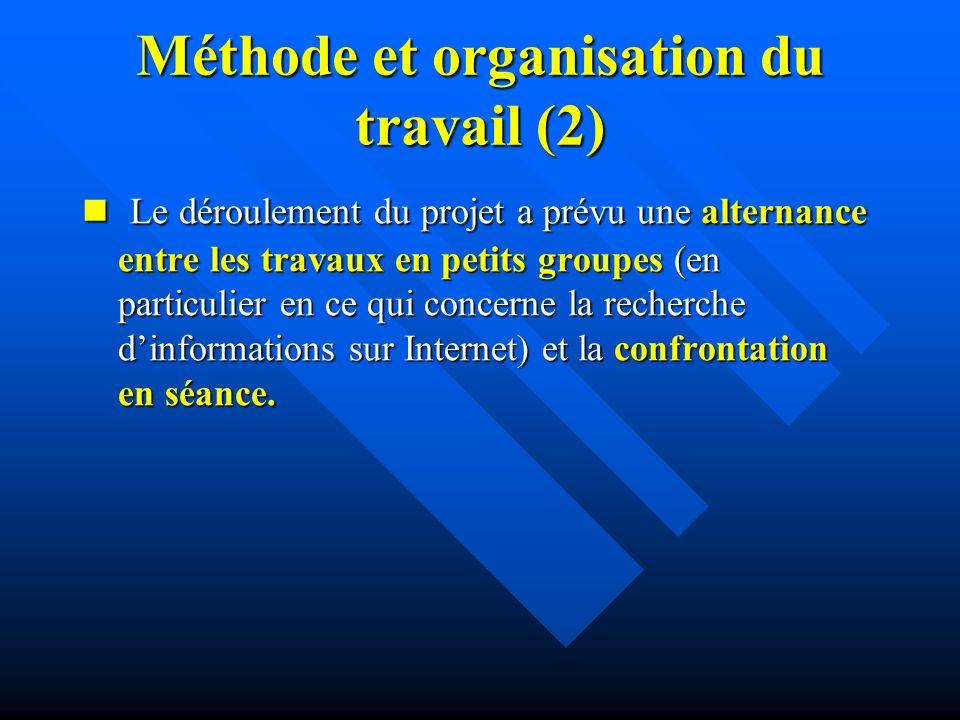 Méthode et organisation du travail (2) Le déroulement du projet a prévu une alternance entre les travaux en petits groupes (en particulier en ce qui concerne la recherche dinformations sur Internet) et la confrontation en séance.