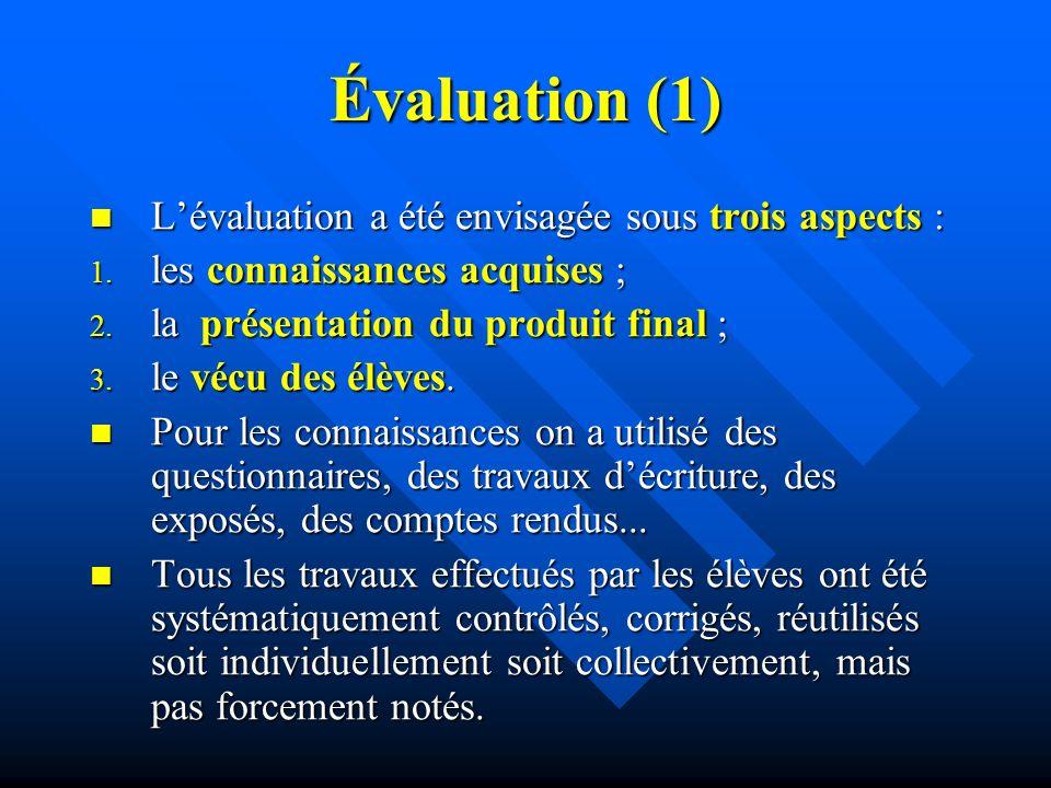 Évaluation (1) Lévaluation a été envisagée sous trois aspects : Lévaluation a été envisagée sous trois aspects : 1.