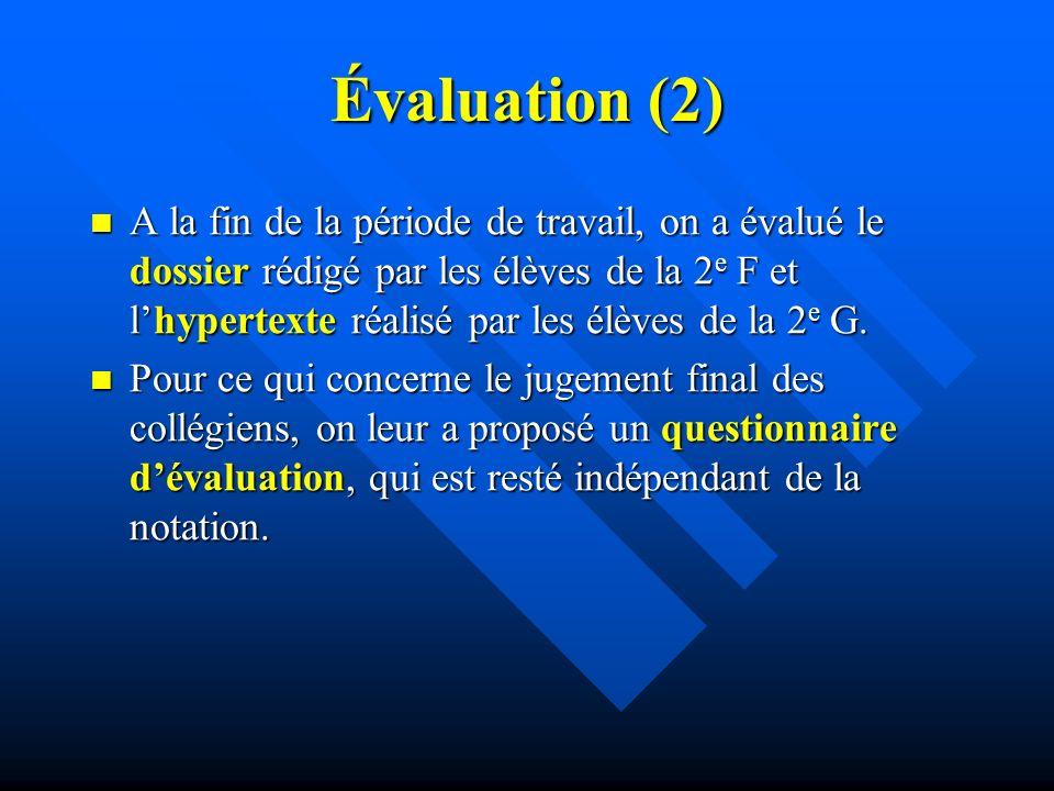 Évaluation (2) A la fin de la période de travail, on a évalué le dossier rédigé par les élèves de la 2 e F et lhypertexte réalisé par les élèves de la 2 e G.
