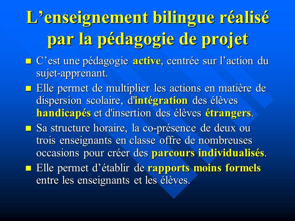 Lenseignement bilingue réalisé par la pédagogie de projet Cest une pédagogie active, centrée sur laction du sujet-apprenant.