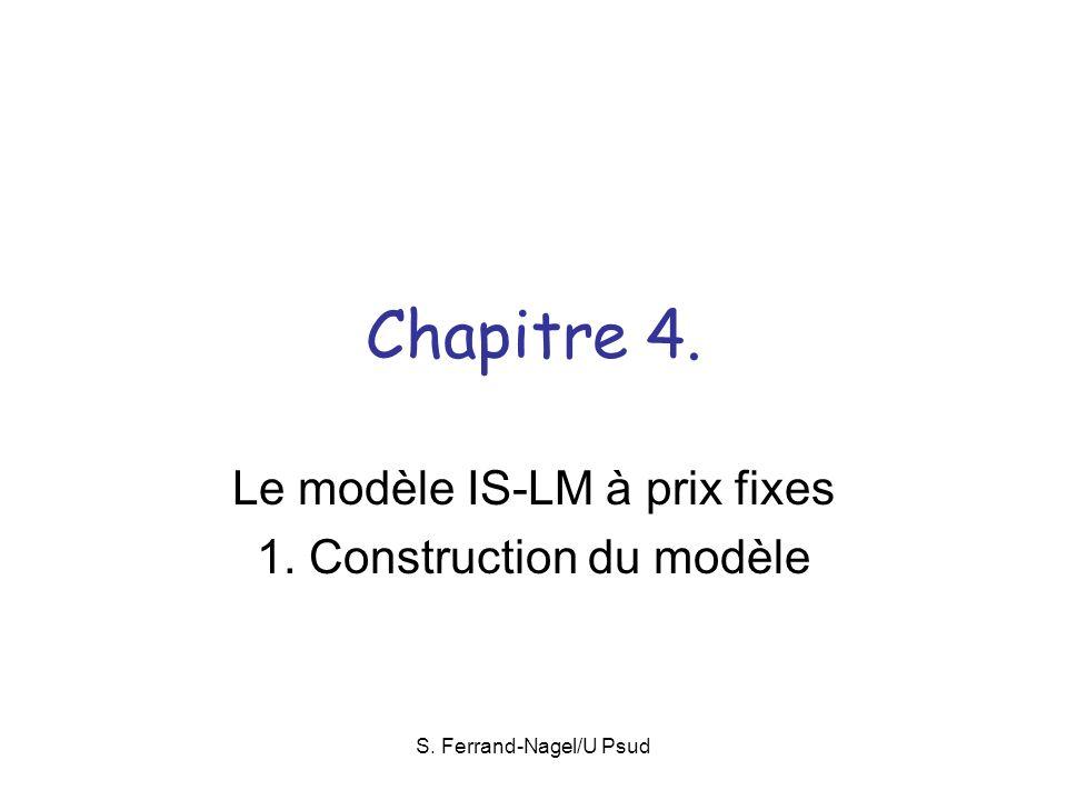 S. Ferrand-Nagel/U Psud Chapitre 4. Le modèle IS-LM à prix fixes 1. Construction du modèle