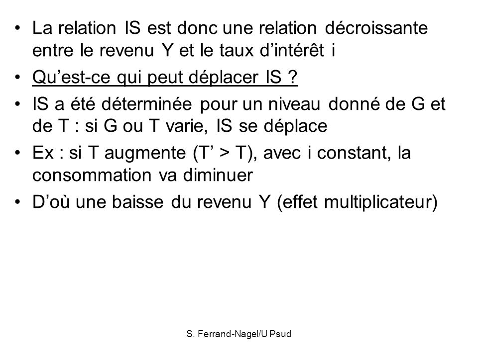 S. Ferrand-Nagel/U Psud La relation IS est donc une relation décroissante entre le revenu Y et le taux dintérêt i Quest-ce qui peut déplacer IS ? IS a