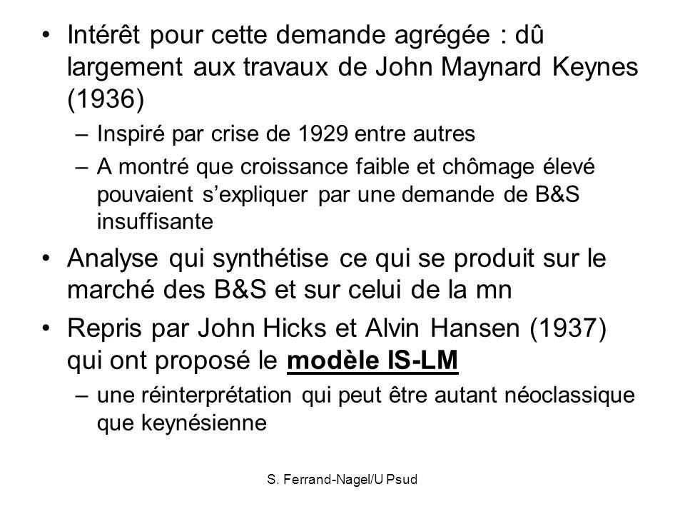 S. Ferrand-Nagel/U Psud Intérêt pour cette demande agrégée : dû largement aux travaux de John Maynard Keynes (1936) –Inspiré par crise de 1929 entre a