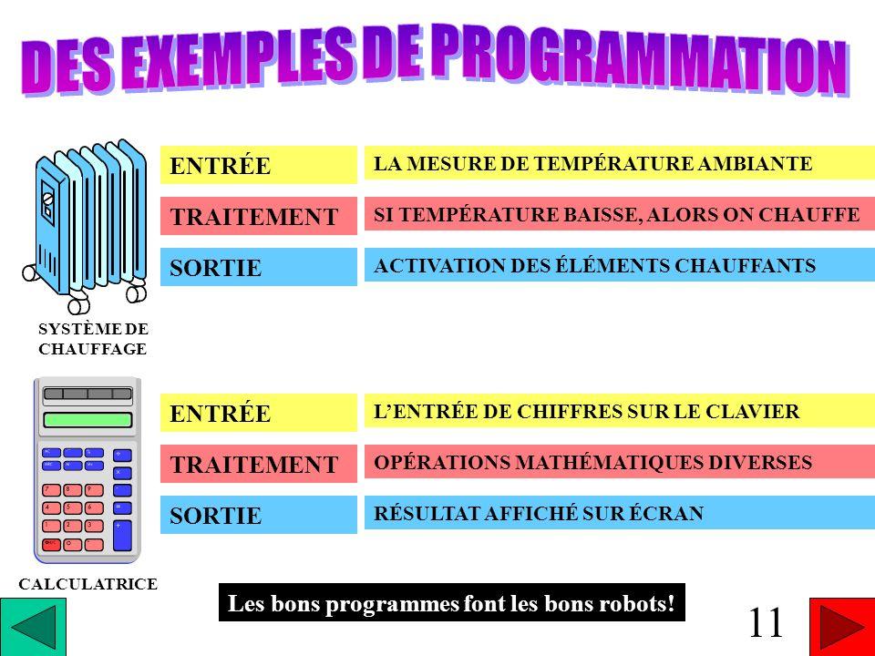 LE FONCTIONNEMENT DU PROGRAMME ENTRÉE (INPUT) SORTIE (OUTPUT) TRAITEMENT 10 ENTRÉE TRAITEMENT SORTIE LES DONNÉES QUI SONT MESURÉES PAR LES CAPTEURS DU ROBOT LES INSTRUCTIONS QUE LE ROBOT DOIT SUIVRE POUR TRAITER LES DONNÉES LACTION, LA RÉPONSE DU ROBOT, LACTIVATION DE SES COMPOSANTES entrée traitementsortie