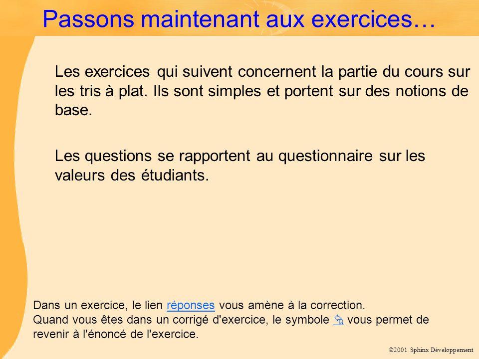 ©2001 Sphinx Développement Passons maintenant aux exercices… Les exercices qui suivent concernent la partie du cours sur les tris à plat.