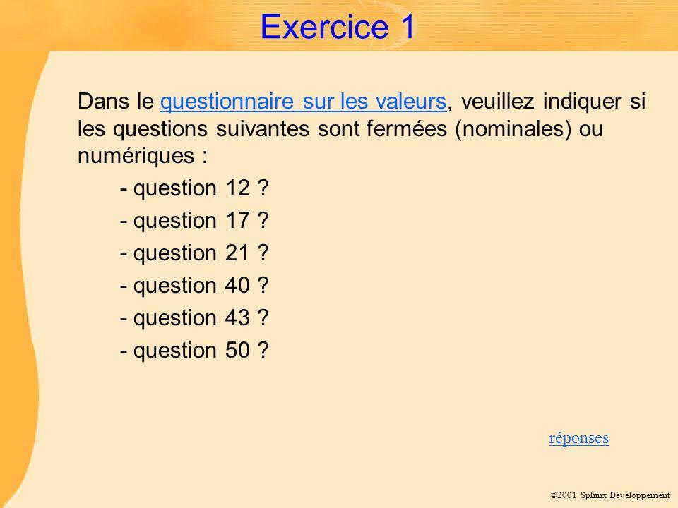 ©2001 Sphinx Développement Exercice 1 Dans le questionnaire sur les valeurs, veuillez indiquer si les questions suivantes sont fermées (nominales) ou numériques :questionnaire sur les valeurs - question 12 .