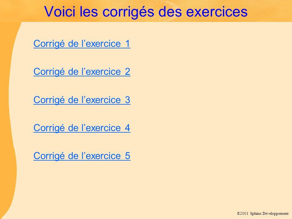 ©2001 Sphinx Développement Voici les corrigés des exercices Corrigé de lexercice 1 Corrigé de lexercice 2 Corrigé de lexercice 3 Corrigé de lexercice 4 Corrigé de lexercice 5