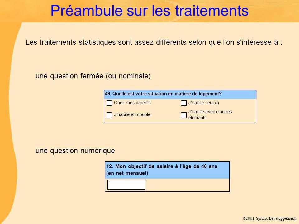©2001 Sphinx Développement Préambule sur les traitements 49.
