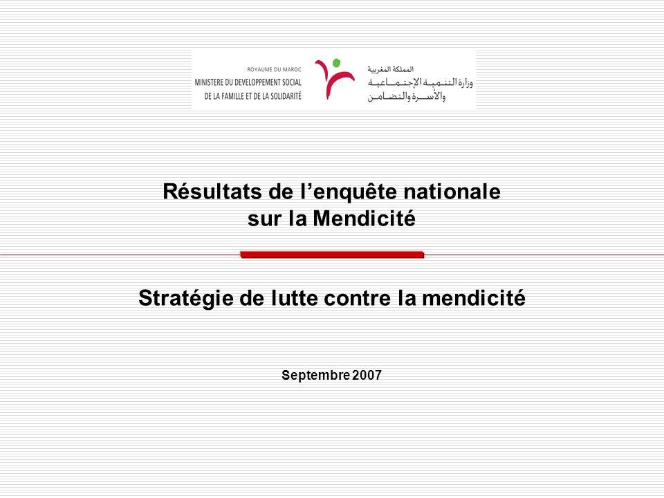 Résultats de lenquête nationale sur la Mendicité Stratégie de lutte contre la mendicité Septembre 2007