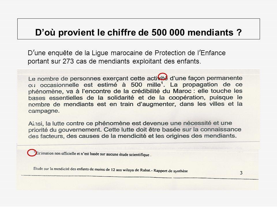 Doù provient le chiffre de 500 000 mendiants ? D une enquête de la Ligue marocaine de Protection de l Enfance portant sur 273 cas de mendiants exploit