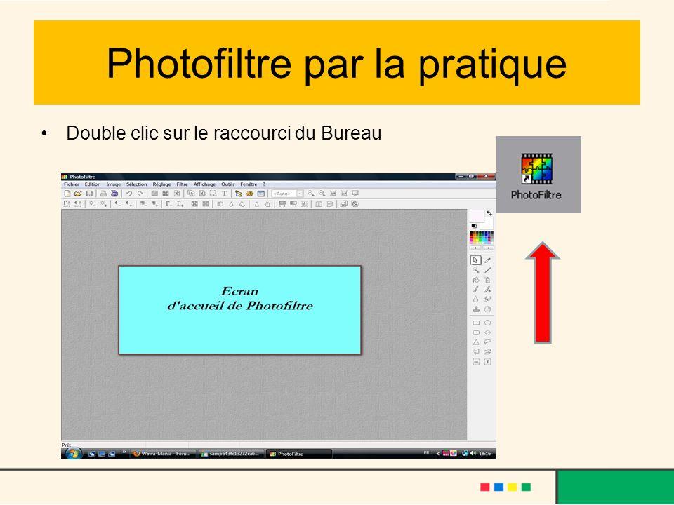 Photofiltre par la pratique Double clic sur le raccourci du Bureau