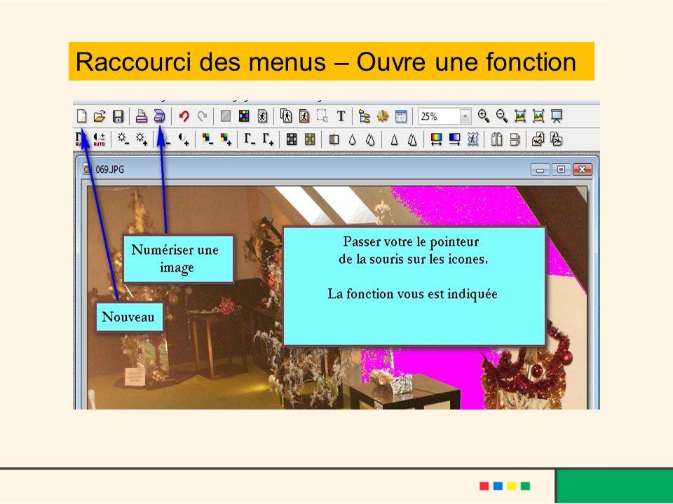 Raccourci des menus – Ouvre une fonction