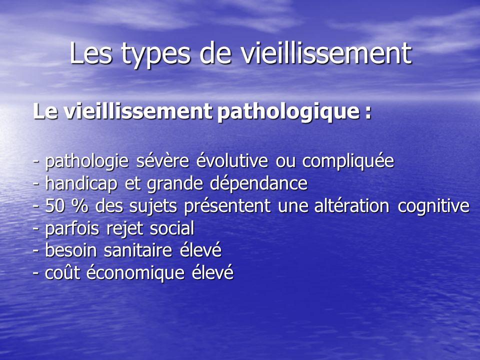 Les types de vieillissement Le vieillissement pathologique : - pathologie sévère évolutive ou compliquée - handicap et grande dépendance - 50 % des su