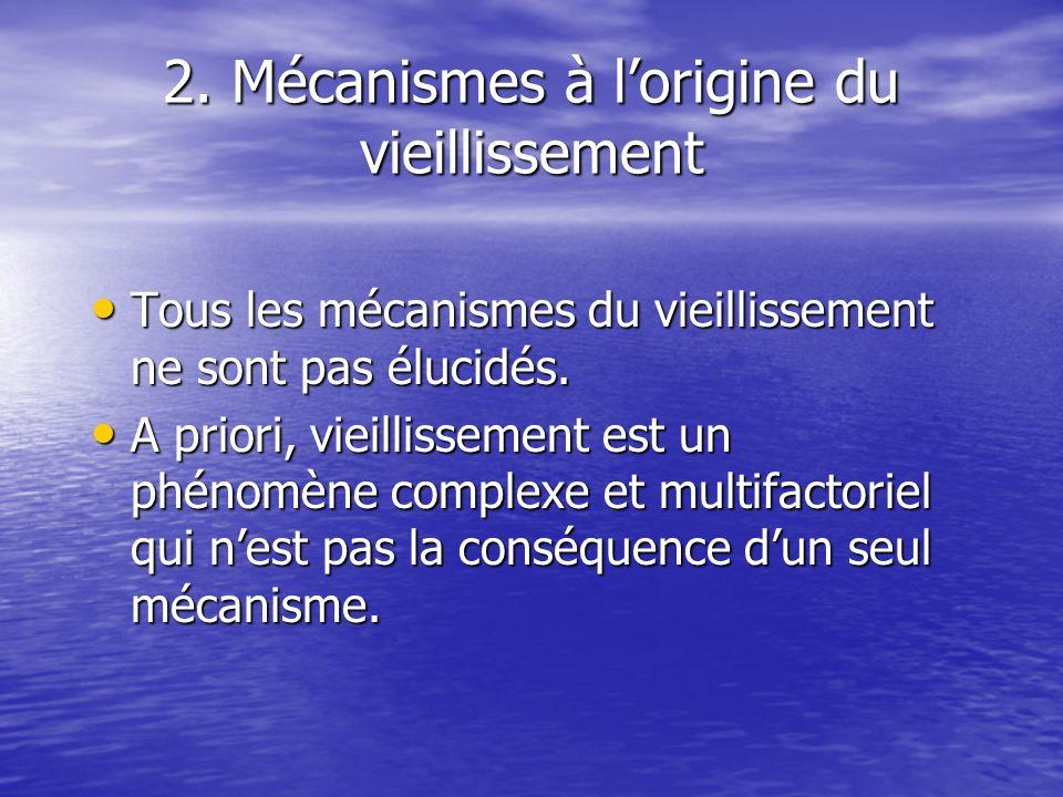2. Mécanismes à lorigine du vieillissement Tous les mécanismes du vieillissement ne sont pas élucidés. Tous les mécanismes du vieillissement ne sont p