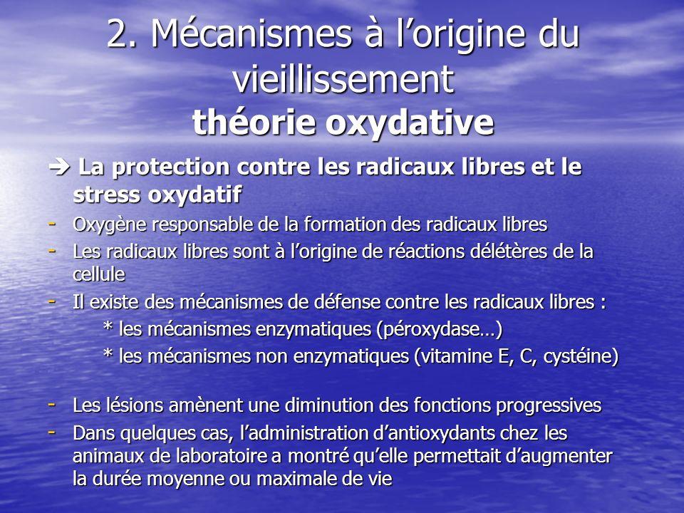 2. Mécanismes à lorigine du vieillissement théorie oxydative La protection contre les radicaux libres et le stress oxydatif La protection contre les r