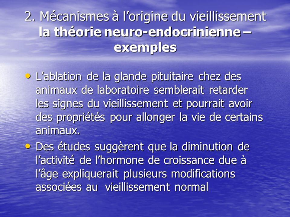 2. Mécanismes à lorigine du vieillissement la théorie neuro-endocrinienne – exemples Lablation de la glande pituitaire chez des animaux de laboratoire