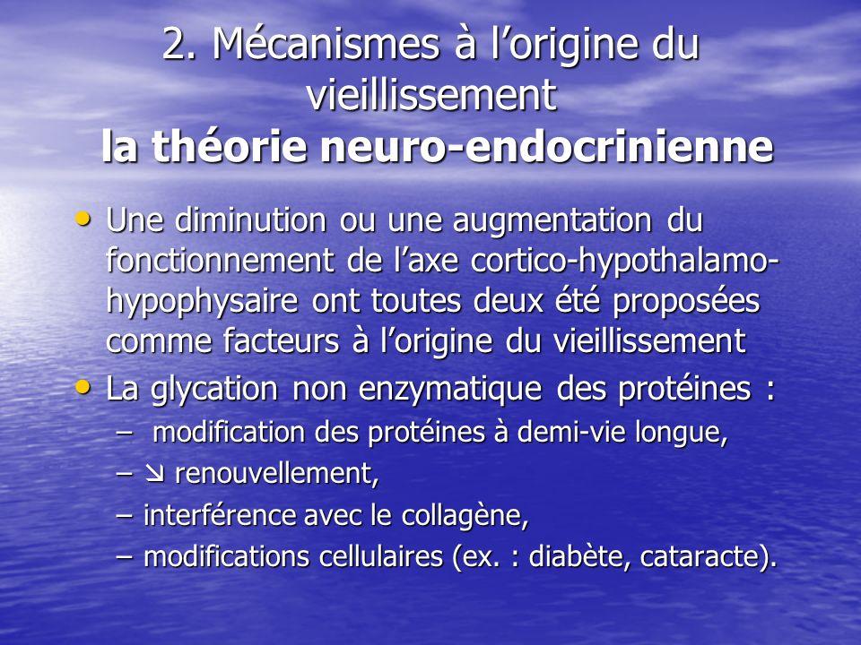 2. Mécanismes à lorigine du vieillissement la théorie neuro-endocrinienne Une diminution ou une augmentation du fonctionnement de laxe cortico-hypotha