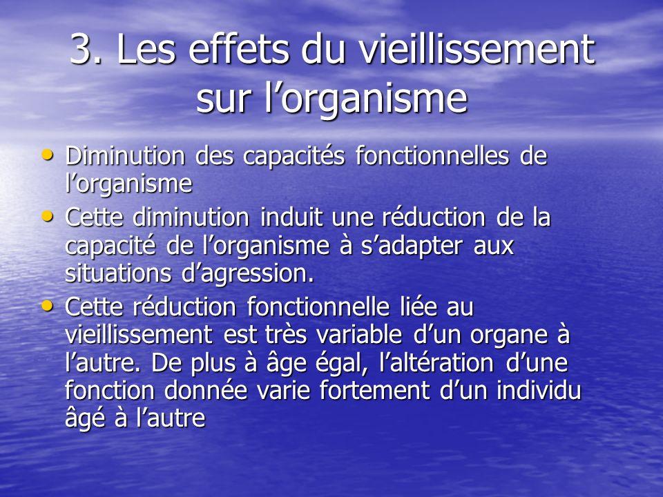 3. Les effets du vieillissement sur lorganisme Diminution des capacités fonctionnelles de lorganisme Diminution des capacités fonctionnelles de lorgan