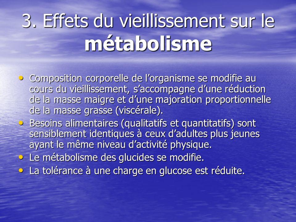 3. Effets du vieillissement sur le métabolisme Composition corporelle de lorganisme se modifie au cours du vieillissement, saccompagne dune réduction