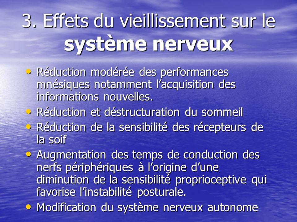 3. Effets du vieillissement sur le système nerveux Réduction modérée des performances mnésiques notamment lacquisition des informations nouvelles. Réd
