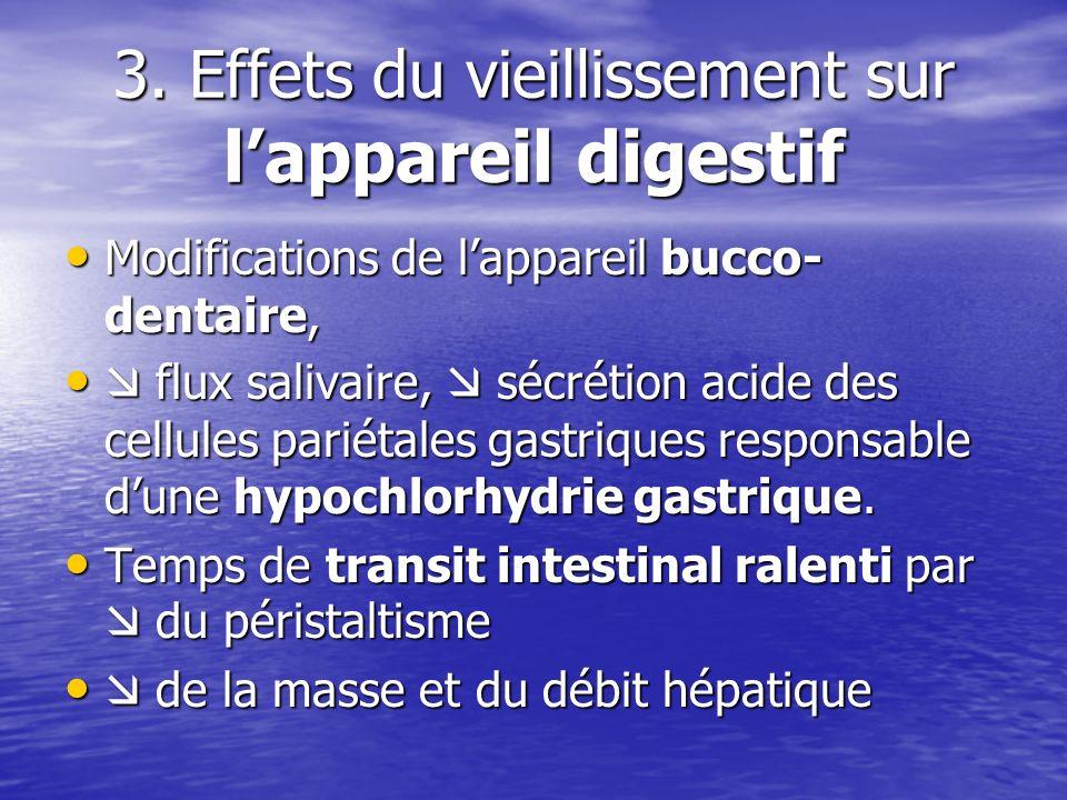 3. Effets du vieillissement sur lappareil digestif Modifications de lappareil bucco- dentaire, Modifications de lappareil bucco- dentaire, flux saliva