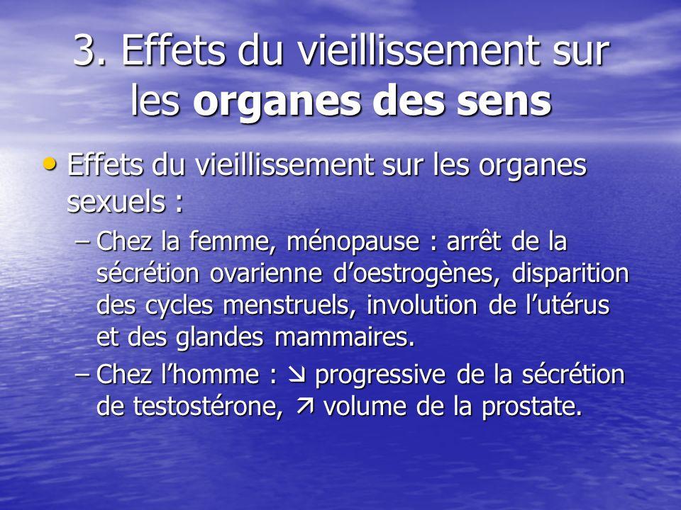 3. Effets du vieillissement sur les organes des sens Effets du vieillissement sur les organes sexuels : Effets du vieillissement sur les organes sexue