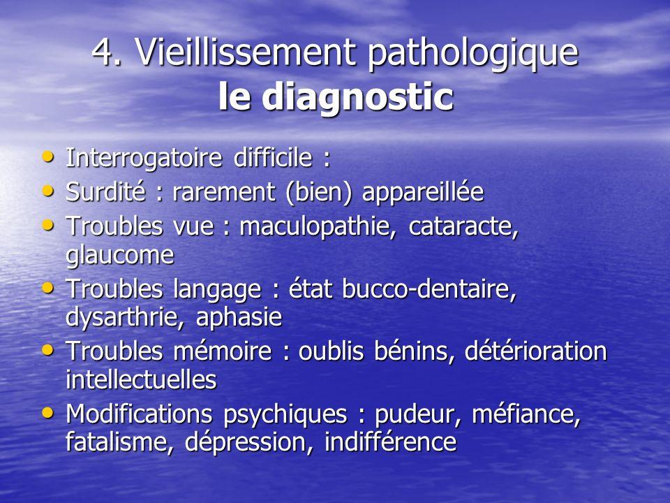 4. Vieillissement pathologique le diagnostic Interrogatoire difficile : Interrogatoire difficile : Surdité : rarement (bien) appareillée Surdité : rar