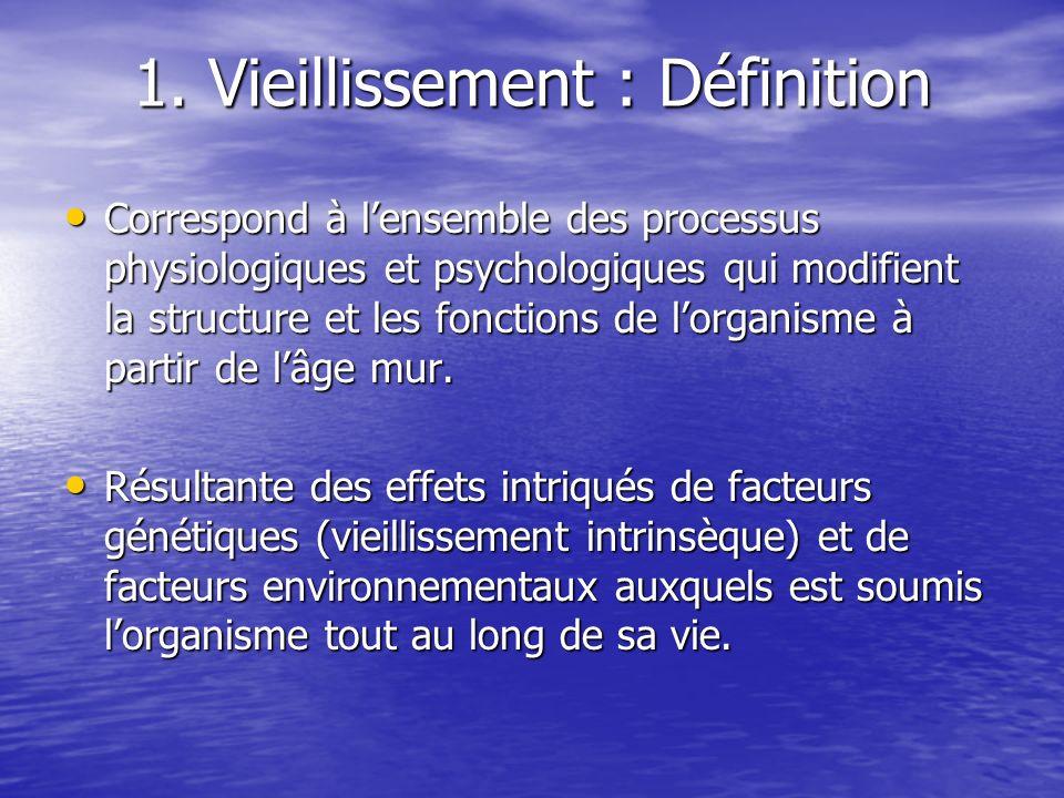 1. Vieillissement : Définition Correspond à lensemble des processus physiologiques et psychologiques qui modifient la structure et les fonctions de lo