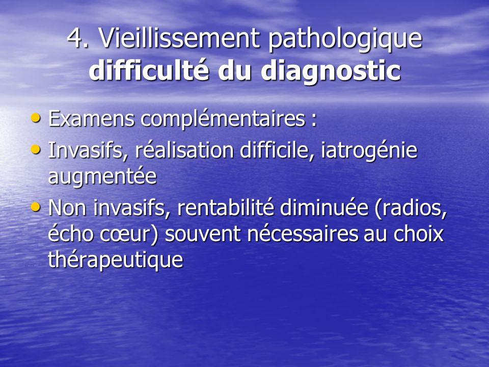 4. Vieillissement pathologique difficulté du diagnostic Examens complémentaires : Examens complémentaires : Invasifs, réalisation difficile, iatrogéni