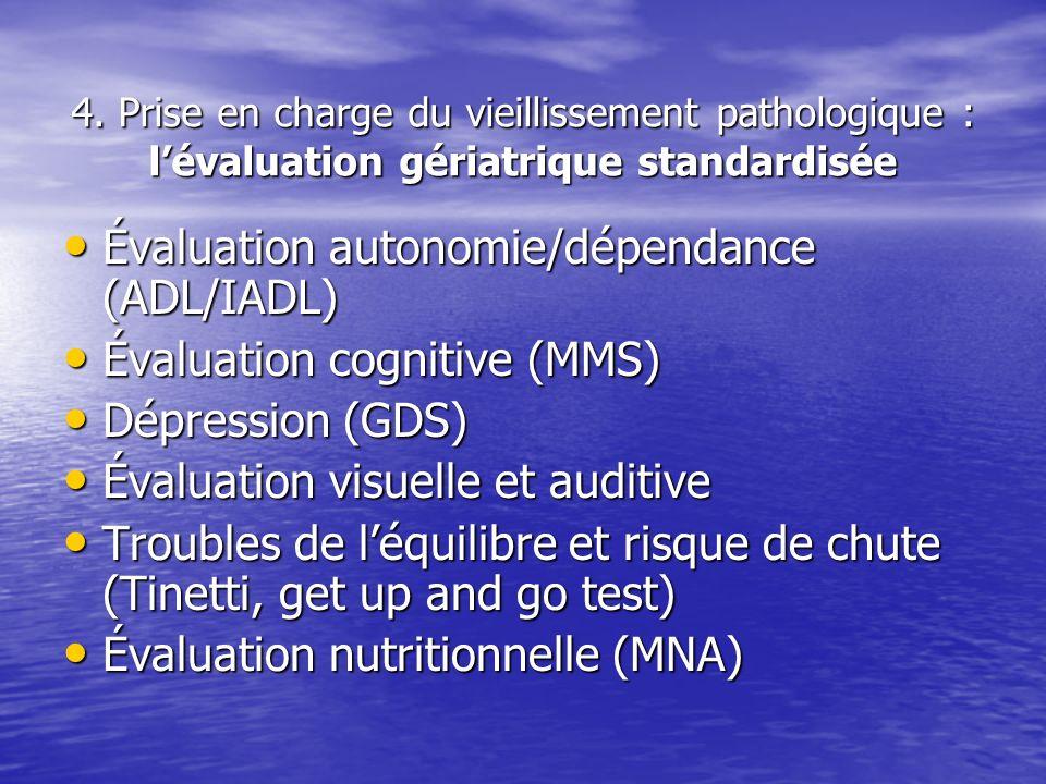 4. Prise en charge du vieillissement pathologique : lévaluation gériatrique standardisée Évaluation autonomie/dépendance (ADL/IADL) Évaluation autonom