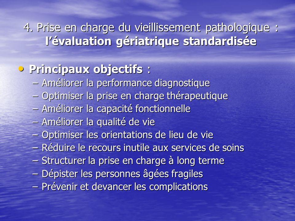 4. Prise en charge du vieillissement pathologique : lévaluation gériatrique standardisée Principaux objectifs : Principaux objectifs : –Améliorer la p