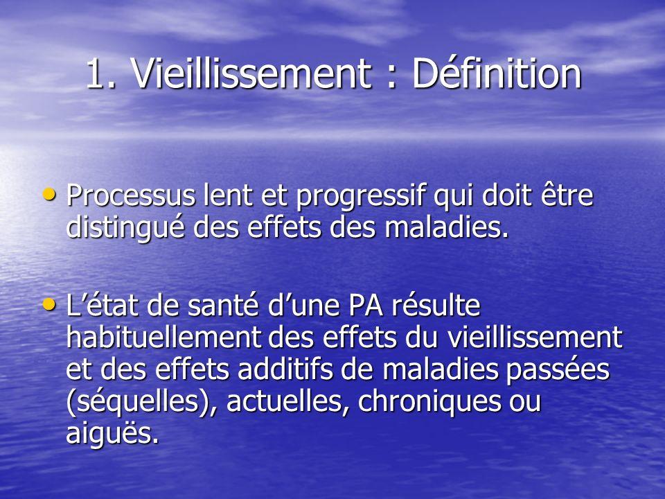 1. Vieillissement : Définition Processus lent et progressif qui doit être distingué des effets des maladies. Processus lent et progressif qui doit êtr