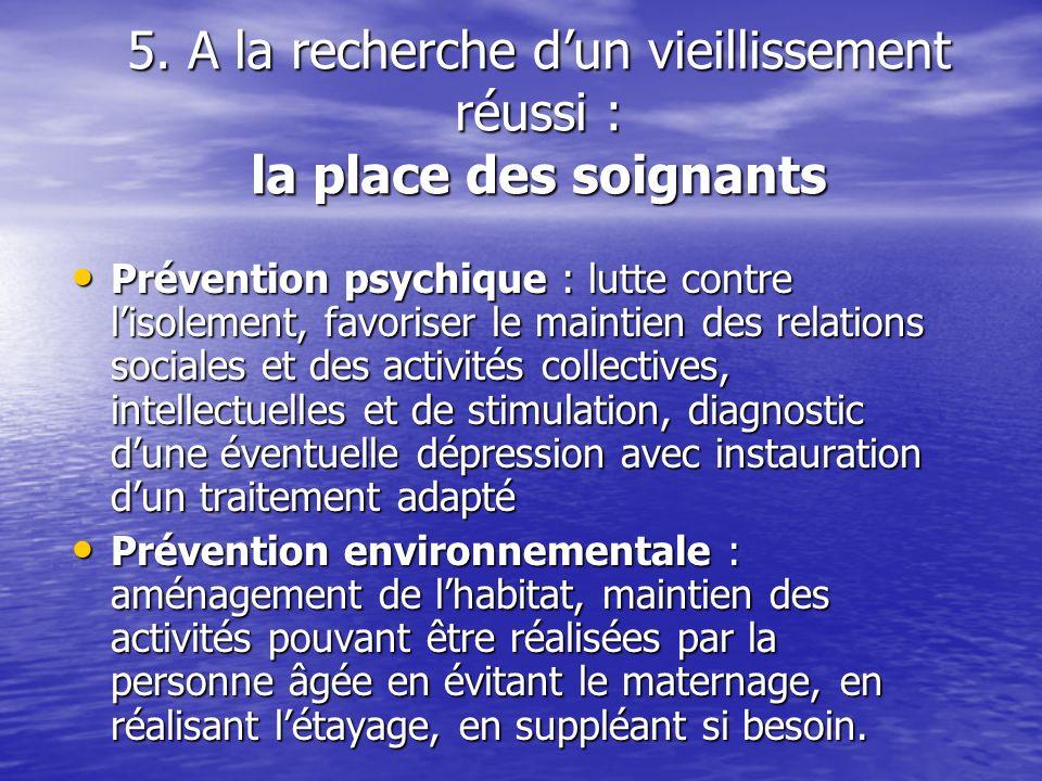5. A la recherche dun vieillissement réussi : la place des soignants Prévention psychique : lutte contre lisolement, favoriser le maintien des relatio