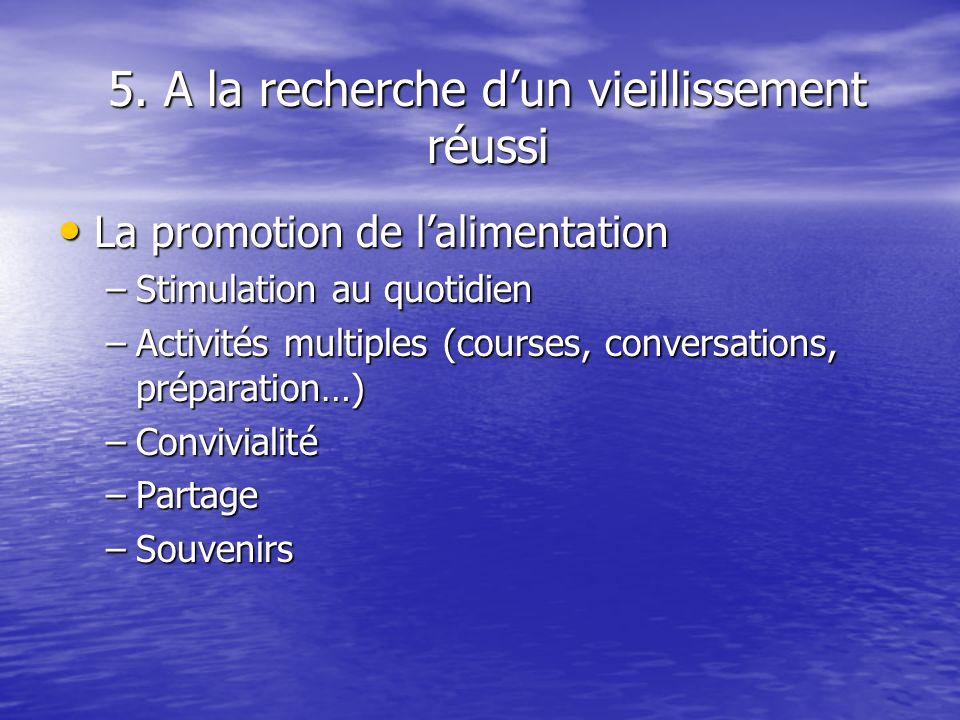 5. A la recherche dun vieillissement réussi La promotion de lalimentation La promotion de lalimentation –Stimulation au quotidien –Activités multiples