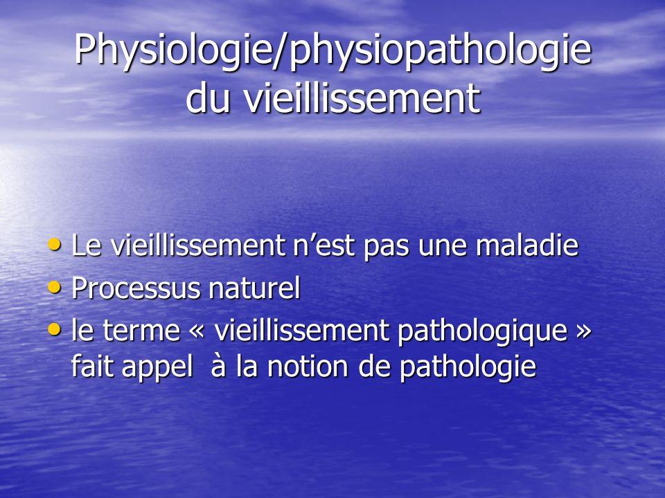 Physiologie/physiopathologie du vieillissement Le vieillissement nest pas une maladie Le vieillissement nest pas une maladie Processus naturel Process