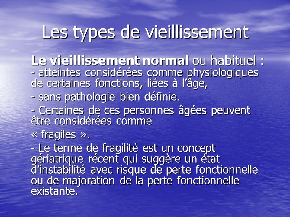 Les types de vieillissement Le vieillissement normal ou habituel : - atteintes considérées comme physiologiques de certaines fonctions, liées à lâge,