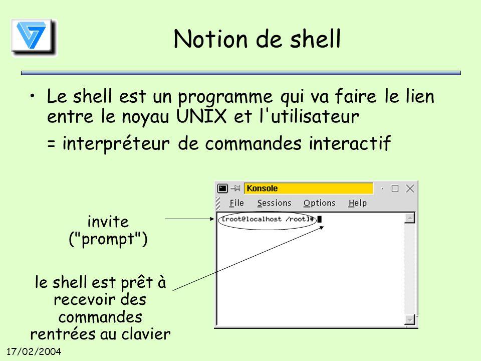 17/02/2004 Notion de shell Le shell est un programme qui va faire le lien entre le noyau UNIX et l utilisateur = interpréteur de commandes interactif invite ( prompt ) le shell est prêt à recevoir des commandes rentrées au clavier