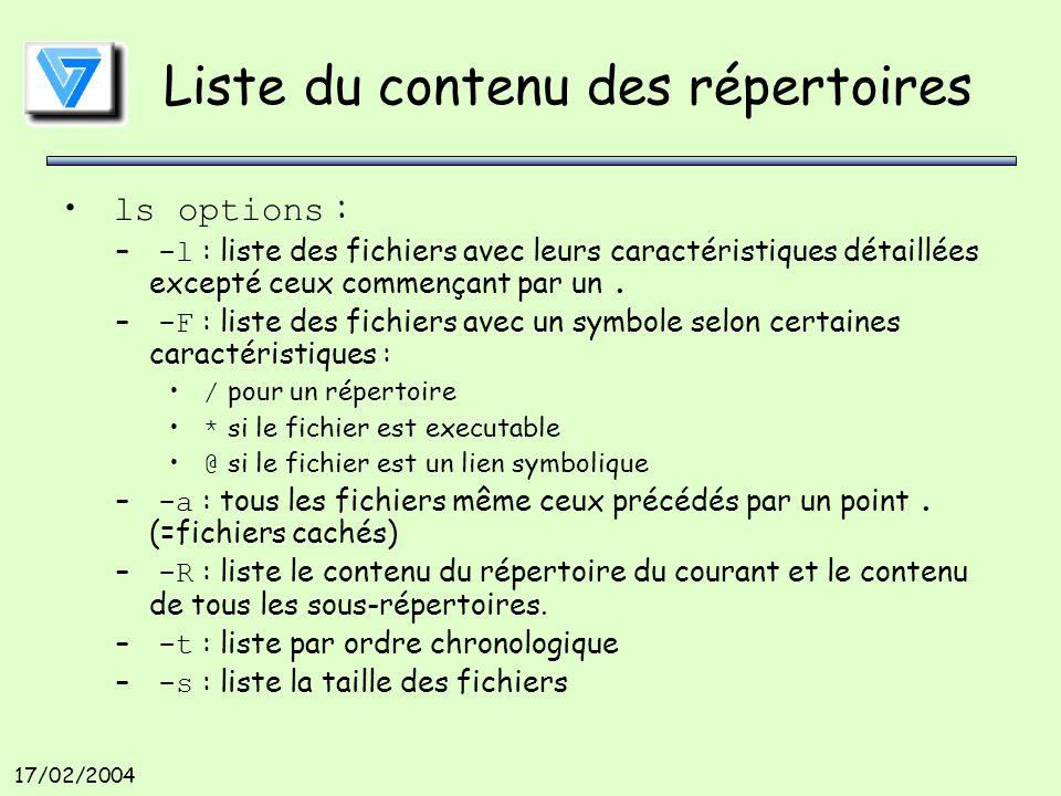 17/02/2004 Liste du contenu des répertoires ls options : – -l : liste des fichiers avec leurs caractéristiques détaillées excepté ceux commençant par un.