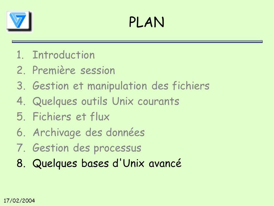 17/02/2004 PLAN 1.Introduction 2.Première session 3.Gestion et manipulation des fichiers 4.Quelques outils Unix courants 5.Fichiers et flux 6.Archivage des données 7.Gestion des processus 8.Quelques bases d Unix avancé