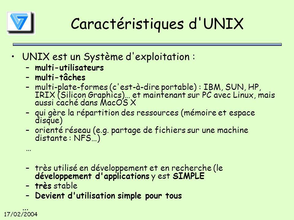 17/02/2004 Caractéristiques d UNIX UNIX est un Système d exploitation : –multi-utilisateurs –multi-tâches –multi-plate-formes (c est-à-dire portable) : IBM, SUN, HP, IRIX (Silicon Graphics)… et maintenant sur PC avec Linux, mais aussi caché dans MacOS X –qui gère la répartition des ressources (mémoire et espace disque) –orienté réseau (e.g.