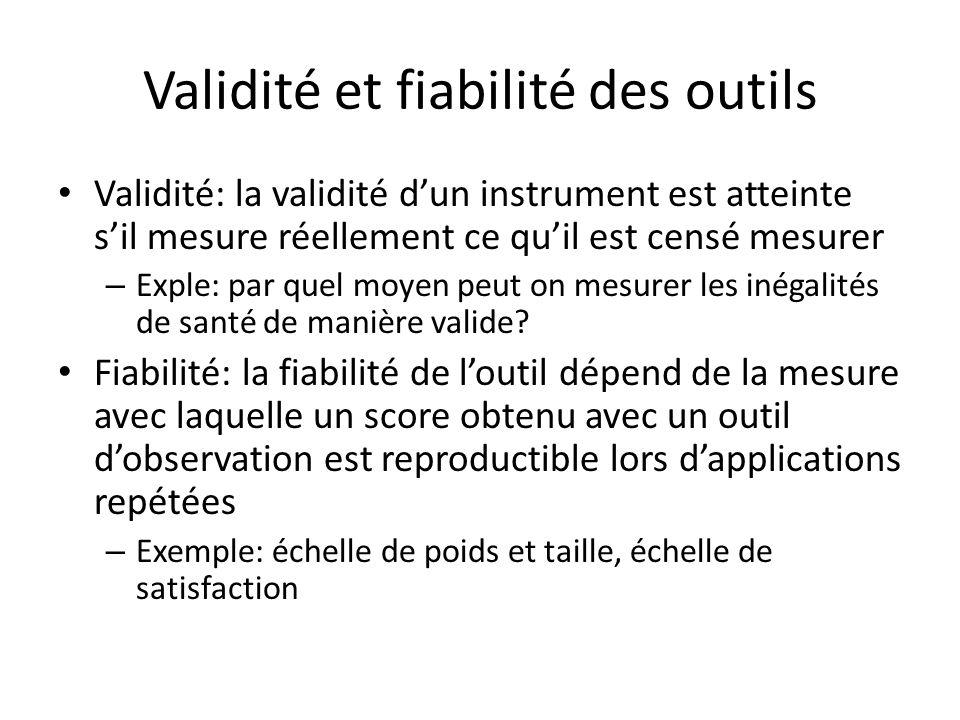 Validité et fiabilité des outils Validité: la validité dun instrument est atteinte sil mesure réellement ce quil est censé mesurer – Exple: par quel m