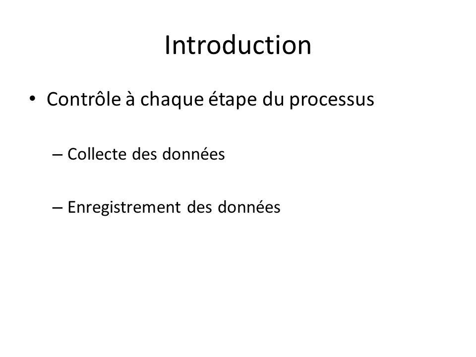 Introduction Contrôle à chaque étape du processus – Collecte des données – Enregistrement des données