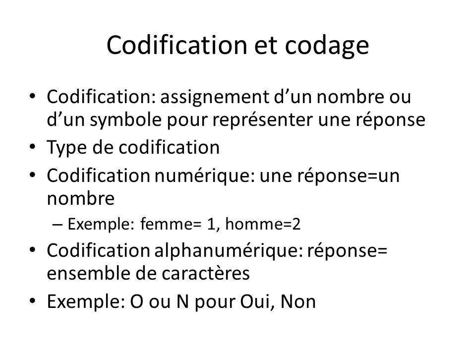 Codification et codage Codification: assignement dun nombre ou dun symbole pour représenter une réponse Type de codification Codification numérique: u