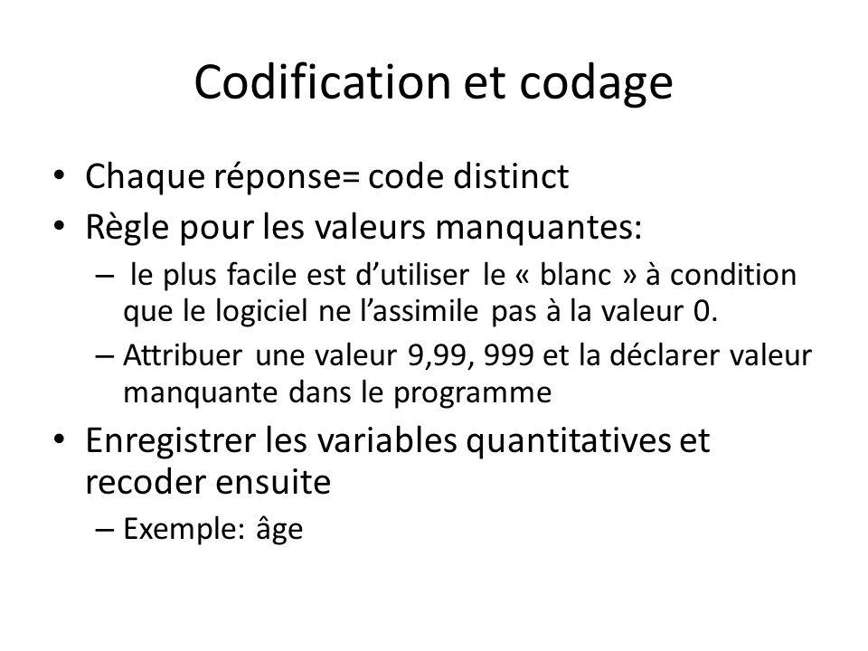 Codification et codage Chaque réponse= code distinct Règle pour les valeurs manquantes: – le plus facile est dutiliser le « blanc » à condition que le