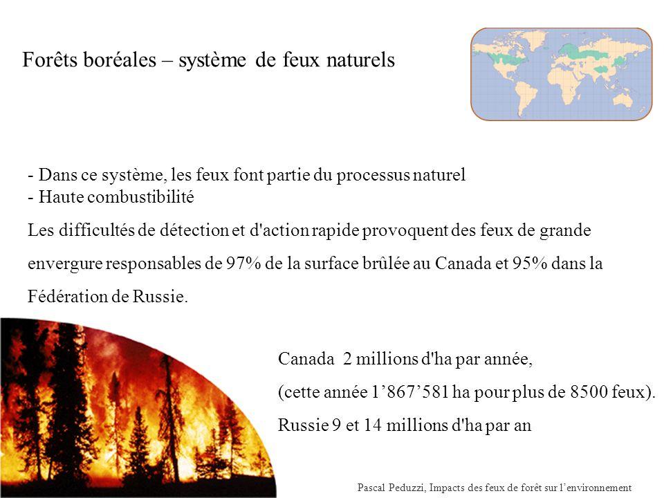 Pascal Peduzzi, Impacts des feux de forêt sur lenvironnement Forêts boréales – système de feux naturels - Dans ce système, les feux font partie du processus naturel - Haute combustibilité Les difficultés de détection et d action rapide provoquent des feux de grande envergure responsables de 97% de la surface brûlée au Canada et 95% dans la Fédération de Russie.